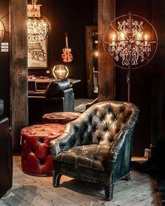The hand-tufted Branco armchair and Lord Digsby footstool are joined by the Axel mirror in reclaimed boat wood,… Cool Furniture, Reclaimed Furniture, Pipe Furniture, Furniture Vintage, Leather Furniture, Furniture Design, Home Room Design, House Design, Design Design