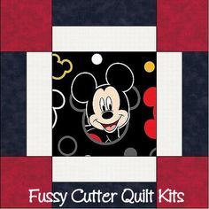 Mickey Mouse Baby Children Fabric Easy Pre-Cut Quilt Blocks Squares Top Kit