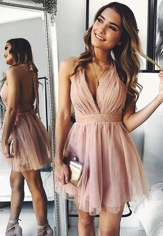 Buy Cute V Neck Above Knee Pink Ruffles Tulle Short Prom Dresses, Homecoming Dresses online. Rock one of the season's hottest looks in a burgundy homecoming dress or choose a timeless classic little black dress. Hoco Dresses, Sexy Dresses, Wedding Dresses, Summer Dresses, Short Dresses For Prom, Casual Dresses, Simple Homecoming Dresses, Short Graduation Dresses, Backless Homecoming Dresses