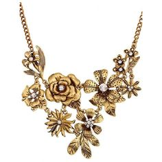 Gold Floral Decor Rhinestone Detail Vintage Necklace ($12) ❤ liked on Polyvore featuring jewelry, necklaces, gold, chain link necklace, yellow gold necklace, gold engraved necklace, claw necklace and floral necklace