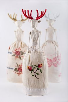Clay Decoration, Embroidered Doll, Handmade Original Art