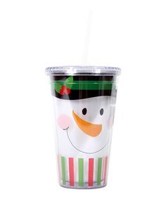 Take a look at this Green Snowman Face 18-Oz. Tumbler by Dennis East International on #zulily today!