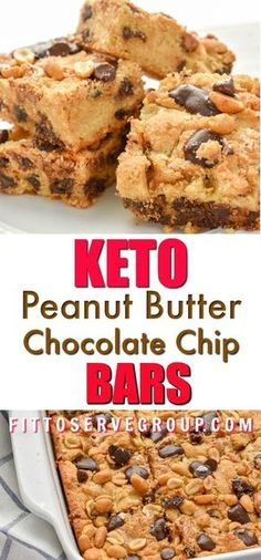 These Keto Peanut Butter Chocolate Chip Bars are loaded with peanut butter and c. - These Keto Peanut Butter Chocolate Chip Bars are loaded with peanut butter and chocolate goodness. Thick and oozing with peanut butter and melty sugar. Chocolate Chip Bars, Sugar Free Chocolate Chips, Chocolate Peanut Butter, Low Carb Chocolate Chip Cookies, Peanut Butter Fat Bombs, Low Carb Peanut Butter, Sugar Free Peanut Butter Cookies, Keto Cookies, Cookies Soft