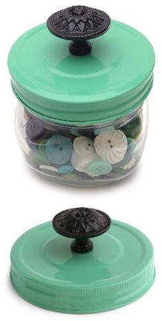 Spray paint a Mason Jar lid and add a cool vintage knob. by jaclyn