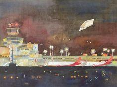 Letzte Landung in Tegel (c) Aquarell von Frank Koebsch, , 48,0 x 36,0 cm, $350, mehr Informationen unter http://frankkoebsch.wordpress.com/2012/04/28/letzte-landung-in-tegel-aquarell-von-frank-koebsch/