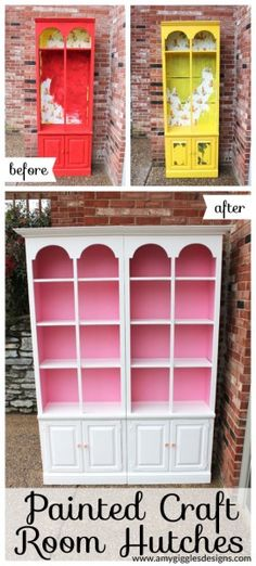 Painted Craft Room Hutches. These are so cute and it is amazing what a can of paint will do to old furniture! www.amygigglesdesigns.com