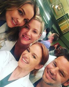 Camilla Luddington, Jessica Capshaw, Sarah Drew and Justin Chambers Greys Anatomy Jo, Greys Anatomy April, Greys Anatomy Memes, Sarah Drew, Justin Chambers, William Kate, Grey's Anatomy Doctors, Greys Anatomy Characters, Camilla Luddington