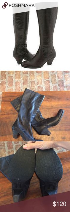 Born Navi Black Leather Boots Exude natural grace and elegance in the feminine 'Navi' boot. Fine leather upper with full interior zipper for easy on/off. Leather lining wicks away moisture and allows the shoe to mold to the natural shape of the foot. Steel shank provides medial support and lateral stability for all-day comfort. Stylish leawood heel with resilient rubber outsole for durable traction. Opanka hand-sewn construction provides flexibility and durable wear. Excellent condition…