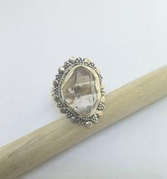 INTRICATE HANDCRAFTED HERKIMER DIAMOND RING IN STERLING SILVER