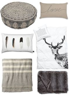 grey and white textures and pillow ideas
