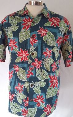 Hilo Hattie Men's Multi-color Floral Aloha Casual Shirt Size MEDIUM Cotton Blend #HiloHattie #Hawaiian