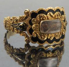 18K gold and enamel mourning ring, 1835