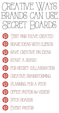 Creative ways to use Secret Boards. #powertips #infographic