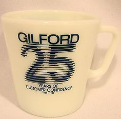 Vintage Pyrex Gilford Anniversary Mug Cup 25 yrs Customer Confidence 1983 RARE