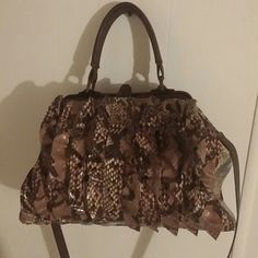 Jessica Simpson purse!! Super cute brown/snakeskin ruffle purse in used condition Jessica Simpson Bags