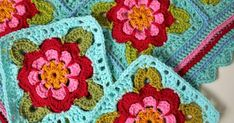 More information on the Painted Roses Blanket: Finding Jarol Heritage DK and how to make the blanket using just Stylecraft Special DK. Crochet Blocks, Crochet Squares, Crochet Granny, Crochet Blanket Patterns, Crochet Motif, Crochet Flowers, Granny Square Blanket, Granny Squares, Manta Crochet