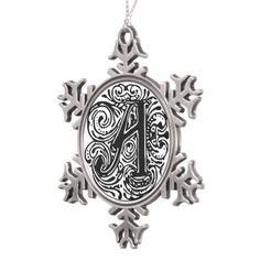 "Monarchia Black Letter ""A"" #Snowflake #Pewter #Christmas #Ornament"
