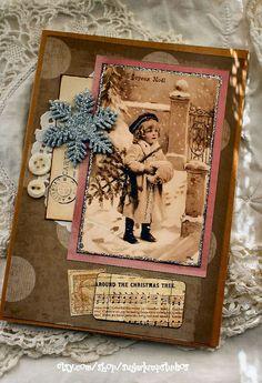 Around the Christmas Tree Handmade Christmas Collage Greeting Card