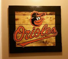 Baltimore Orioles handcrafted wood sign with black painted frame  FREE SHIPPING!!! by CraftsbyMichelleMD on Etsy