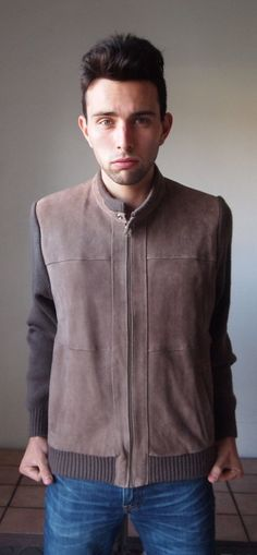 Items similar to Mens Vintage Brown Jacket Leather Knit Shoulders and Back  Zipper Band Collar Longsleeve Large on Etsy 45cc5467d