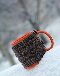 Knit coffee mug hug / mug warmer with cable by HandiCraftbyJane