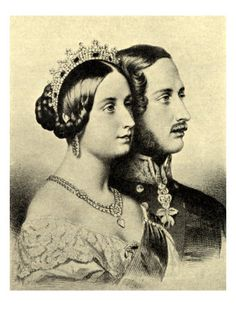 """Queen Victoria (Alexandrina Victoria) (1819-1901) & Prince Albert (Albert Francis Charles Augustus Emmanuel) (1819-1861). Portraits in Profile. """"Great events make me quiet and calm; it is only trifles that irritate my nerves"""" - Queen Victoria. """"I am very happy and contented; but the difficulty in filling my place with the proper dignity is that I am only the husband, not the master in the house."""" Prince Albert."""
