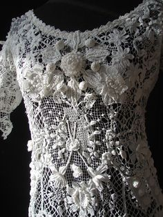 """Lilo Josefina has a board filled with beautiful crochet projects, """"DIY Projects to Try"""".  Many have an ornate vintage or antique look.  A must see for crocheters who appreciate this look.  CIRCA 1900.ORNATE IRISH CROCHET LACE WEDDING GOWN"""
