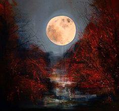 "Saatchi Online Artist Justyna Kopania; Painting, ""Twilight - Full Moon"" #art"