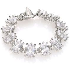 Eddie Borgo Small Rectangle Crystal Estate Bracelet ($315) ❤ liked on Polyvore featuring jewelry, bracelets, apparel & accessories, silver, bracelet jewelry, bracelet set, crystal spike bracelet, crystal jewellery and eddie borgo jewelry