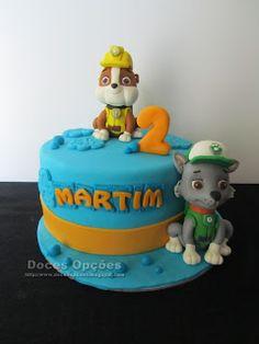 Doces Opções: O Rocky e o Rubble da Patrulha Pata no aniversário... Paw Patrol, Birthday Cake, Desserts, Food, Decorating Cakes, Fiestas, Sweets, Tailgate Desserts, Deserts