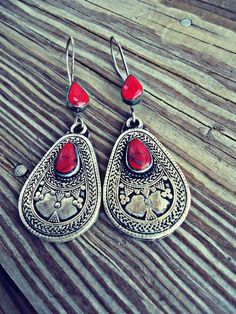Turkmen Kazakh Tribal Jewelry Earrings in Coral by ZamarutJewel, $59.99