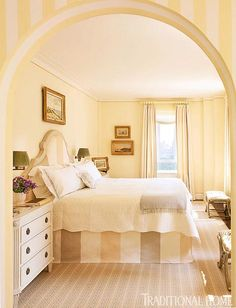 A buttery yellow master bedroom keeps things simple with a light palette and a striped fabric from Pierre Frey - Traditional Home® / Photo: Pieter Estersohn & John Bessler / Design: Celerie Kemble Awesome Bedrooms, Beautiful Bedrooms, Nice Bedrooms, Romantic Bedrooms, Traditional Bedroom, Traditional House, Traditional Decor, Yellow Master Bedroom, Home Bedroom