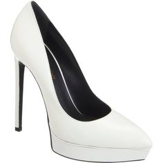Saint Laurent Janis Platform Pumps (€270) ❤ liked on Polyvore featuring shoes, pumps, heels, white, high heel platform pumps, white pumps, pointed toe high heel pumps, white high heel shoes and platform pumps