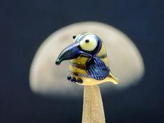 Tilly lampwork bird bead sra by DeniseAnnette on Etsy, $14.00