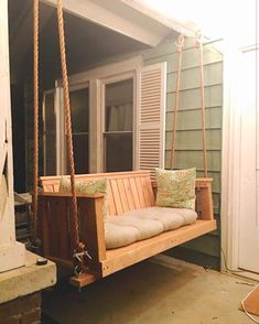 23 Free DIY Porch Swing Plans & Ideas to Chill in Your Front Porch - Interior Pedia Porch Swing Cushions, Patio Swing, Swing Beds, Porch Swings For Sale, Swing For Home, Front Porch Swings, Farmhouse Porch Swings, Diy Porch, Porch Ideas