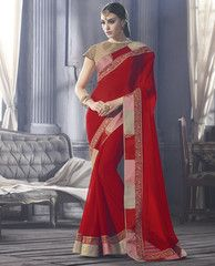 Red Color Georgette Designer Party Wear Sarees : Tanushri Collection  YF-38474