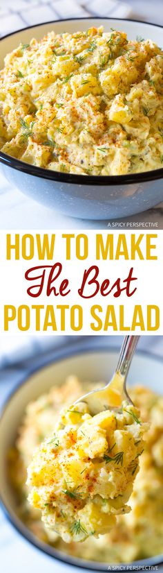 How To Make The Best Potato Salad Recipe. My mom's potato salad recipe is hands-down the best potato salad I, or anyone else who's tried it, has ever eaten! Salad Recipes Video, Pasta Recipes, Cooking Recipes, Healthy Recipes, Cooking Tips, Best Potato Salad Recipe, Potato Recipes, Best Potatoe Salad, Potato Salad With Egg
