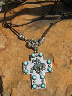 Leather  Turquoise  Silver   Bronc Rider Necklace by fleurdesignz, $28.00