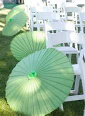 Mint Green Parasols for Wedding Ceremony/Reception.
