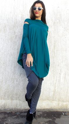 Flared Teal Viscose Tunic / Plus Size Asymmetrical Flared by Teyxo