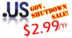 The government maybe Shutdown, but .US Domains are Open and On-Sale Now. .US Shutdown Sale @ $2.99/Yr. http://iDotz.net
