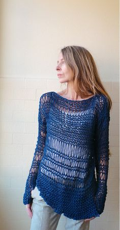 Cotton Sweater in Marine Blue with an asymmetrical hemline on Etsy, $115.00