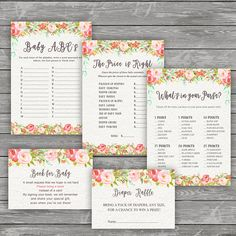Floral Baby Shower Printable Games 5 Pack Games Baby ABCs