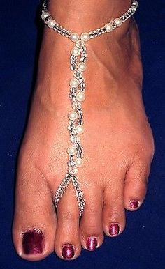Pair of Hand Made Bare Foot Sandal Bridal & Beach Jewellery Anklet (BFS 9A0223)