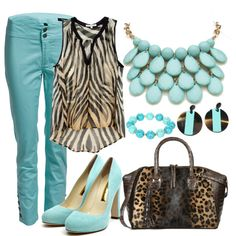 """Turquoise and animal print outfit"" by esperanzandrea on Polyvore"