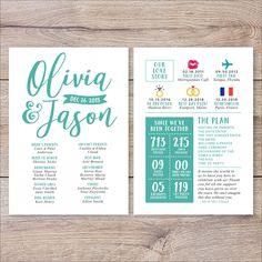 Wedding Countdown 11 Non-Traditional Wedding Programs You Can Find on Etsy Fun Wedding Programs, Printable Wedding Programs, Wedding Reception Food, Wedding Events, Wedding Invitations, Wedding Day, Invites, Wedding Ceremonies, Dream Wedding