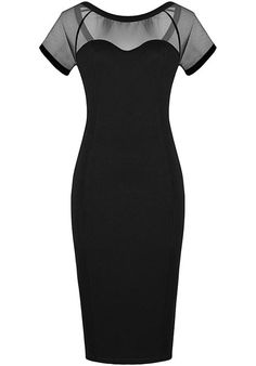 To find out about the Black Contrast Sheer Mesh Yoke Bodycon Dress at SHEIN, part of our latest Dresses ready to shop online today! Dress Outfits, Fashion Dresses, Dress Up, Bodycon Dress, Sheath Dress, Dresses Dresses, Pencil Dress, Dress To Impress, Beautiful Dresses