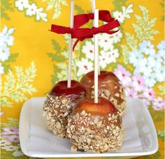 Peanut Butter Caramel Apples by Post Punk Kitchen. Caramel making is an art, one you might not have time to perfect in between doling out candy to the neighborhood ghouls and crafting up your perfect slutty angel costume. This recipe dumbs it down with a secret ingredient: brown rice syrup. Now, it may not be the cheapest ingredient out there – it costs around 6 dollars for a jar – but it pretty much guarantees your caramel will turn out perfect. It also saves you some money at the dentist…