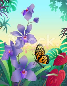orchid and butterfly royalty-free stock vector art