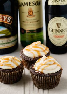 St. Patrick's Day Guinness Irish Cream Cupcakes. Oh we will have to make these erin :)